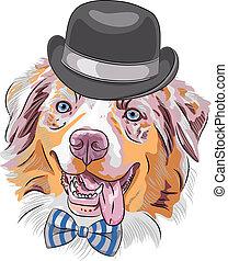vecteur, chien, hipster, dessin animé, berger australien