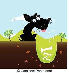 vecteur, chien noir, bones.