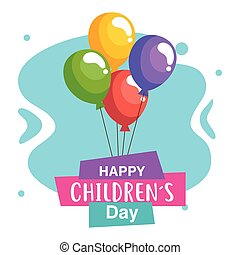 vecteur, childrens, ballons, conception, heureux, jour