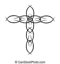 vecteur, chrétien, croix, orné