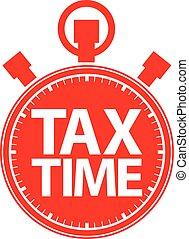 vecteur, chronomètre, icône, temps, illustration, rouges, impôt