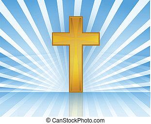 vecteur, ciel, croix, /