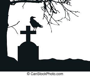vecteur, cimetière, sec, pierre tombale, réaliste, fond, blanc, texte, arbre., isolé, corbeau, espace, séance, illustration, mort