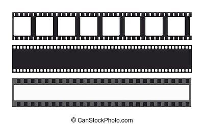 vecteur, cinéma, média, 35mm, diapo, templates., bande, filmstrip., cadre, bande, négatif, rouleau cinématographique