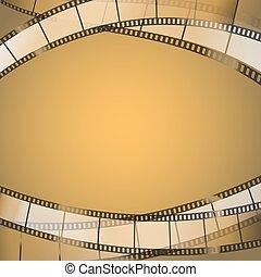 vecteur, cinéma, strips., pellicule, fond, illustration, jaunâtre, résumé