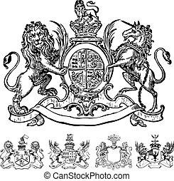 vecteur, clipart, lion, victorien, crêtes