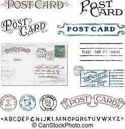 vecteur, clipart, timbres, affranchissement, carte postale, retro