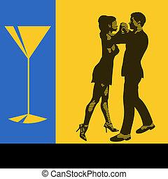vecteur, cocktail, menu, danseurs, danse, illustration, aviateur, fond, paire, événement