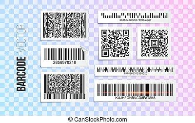 vecteur, code, qr, templates., set., barcode, étiquettes, design., autocollant, barre