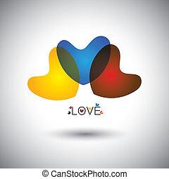 vecteur, coeur, concept, amour, icônes, résumé, &, -, graphique, transparent