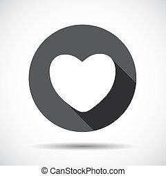 vecteur, coeur, plat, icône, shadow., long, illustration.