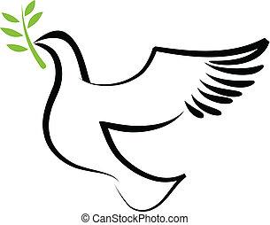 vecteur, colombe, 2, -