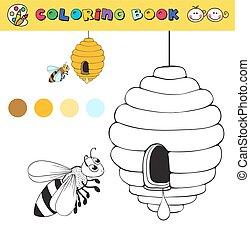 vecteur, coloration, couleur, abeille, ruche, livre, samples., gabarit, illustraton, page