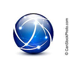 vecteur, communication, globe, concept, icône