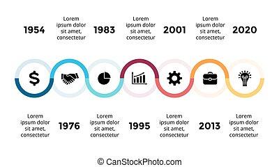 vecteur, concept, business, semicircles, infographic, timeline, options, flèches, diagramme, parties, diagramme, presentation., progrès, 7, graphique, étapes, processes.