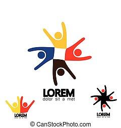 vecteur, concept, coloré, école, gens, -, ensemble, icônes, cercle, enfants