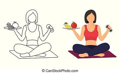 vecteur, concept, illustration, -, femmes, femme, santé, exercices, fitness