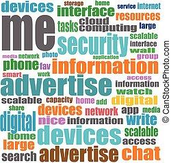 vecteur, concept, mot, média, étiquette, fond, social, nuage blanc
