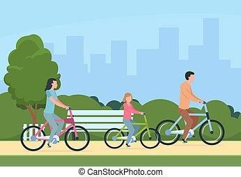 vecteur, concept, style de vie, famille, gens, sain, bikes., récréatif, père, illustration, extérieur, loisir, mère, équitation, activity., enfants, heureux