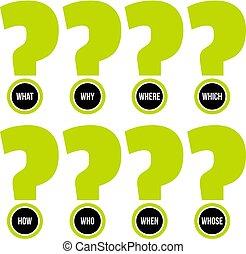 vecteur, concept, words., matériels, materials., question, illustration, promotionnel, site web, ensemble, huit, imprimé, marques