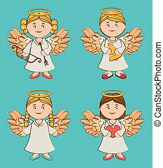 vecteur, conception, ange, illustration.