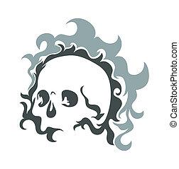 vecteur, conception, crâne