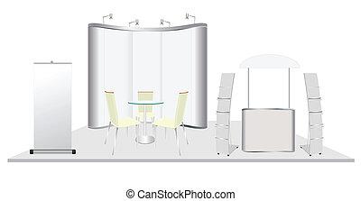 vecteur, conception, exposition, cabine