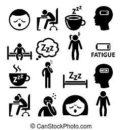 vecteur, conception, fatigue, somnolent, icônes, homme, fatigué, femme