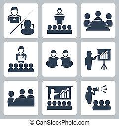 vecteur, conférence, ensemble, réunion, icônes