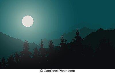 vecteur, conifère, entiers, copyspace, montagne, -, sous, ciel, illustration, lune, clair lune, brouillard, forêt verte, nuit, paysage