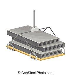 vecteur, construisant briques, illustration, ou, béton, levage, ciment, monolithe, site