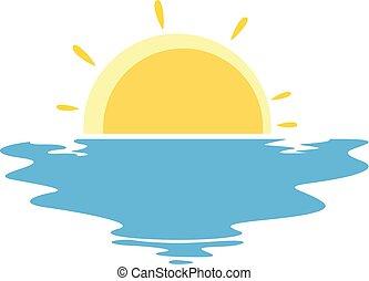 vecteur, coucher soleil, mer, illustration, icône
