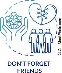 vecteur, couleur temps, illustration., dépenser, contour, dont, advices., loyal, fiable, mates., être, concept, amis, ligne, rgb, dessin, idée, mince, icon., personne, isolé, oublier, amitié