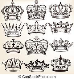 vecteur, couronnes royales, collection