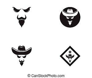 vecteur, cow-boy, figure, icône