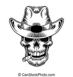 vecteur, cow-boy, illustration, crâne