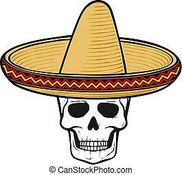 vecteur, crâne, sombrero, illustration, hat), (mexican