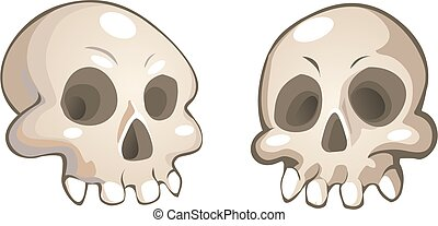 vecteur, crânes, dessin animé