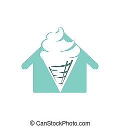 vecteur, crème, exclusivité, cône, icône, symbole, logo., maison, glace, illustration., logo