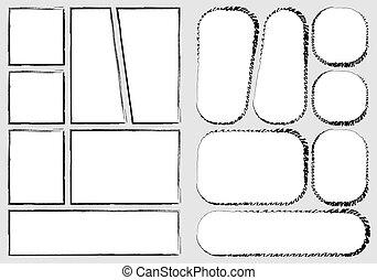 vecteur, créer, impression, a4, rapidement, papier, style, conception, crise, proportion, livre, gabarit, manga, fait main, croquis, dehors., comique, isolé, style., storyboard, ensemble, cadre, disposition