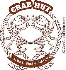 vecteur, crabe, illustration, emblem.
