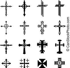 vecteur, croix, icônes