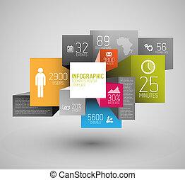 vecteur, cubes, fond, résumé, illustration, infographic, /, gabarit, carrés
