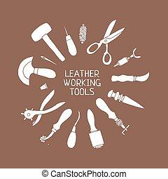 vecteur, cuir, illustration, main, métier, dessiné, outils