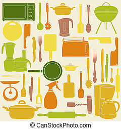 vecteur, cuisine, outils, illustration, cuisine