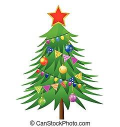 vecteur, décoré, arbre noël