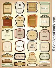 vecteur, décoratif, frames., collection, or