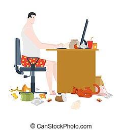 vecteur, dégoûtant, travailleur indépendant, déchets, sale, workplace., table., travail, bâtons., home., illustration, éloigné, cat.