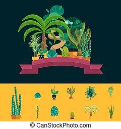 vecteur, désert, buisson, plante, exotique, ensemble, cactus, palmier, flowers.