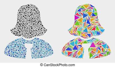 vecteur, dame, triangles, mosaïque, icône